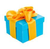 Modrá dárková krabice — Stock fotografie