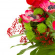 Bouquet with of red and gree flowers — Stock Photo