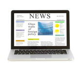 Laptop with news site — Stock Photo