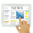 Hands  pointing on news at modern tablet PC — Stock Photo