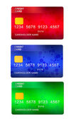 Set of three credit cards — Stock Photo