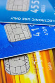 Electronic chips on credit cards — Stock Photo