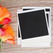 Pile of instant photo with roses - Stock Photo