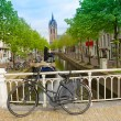 Foto Stock: Old town of Delft in spring, Holland