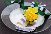 Table serving with daffodil flower — Stock Photo