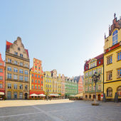 Facade of old houses, Wroclaw — Stock Photo