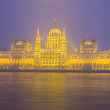 Facade of parliament at night, Budapest — Stock Photo