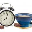 Alarm clock wuth cup of coffee — Stock Photo #23467364