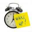 Alarm clock with wake up! note — Stock Photo