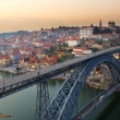 Stock Photo: Panoramof old Porto at sunset, Portugal
