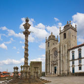 Pillory and Se Cathedral in Porto — Stok fotoğraf