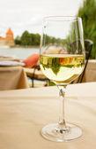 Glass of white wine — Stock Photo