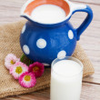Milk in glass on wooden table — Stock Photo #23945439
