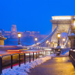 Chain Bridge at night,  Budapest, Hungary - Stock Photo