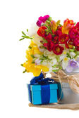 Multicolored freesia flowers with gift box — Stock Photo