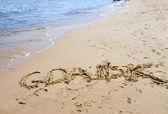 Gdansk sign on the beach — Stock Photo