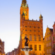 City hall of Gdansk at night — Stockfoto