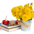 Books and yellow mums flowers — Stock Photo