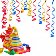 Hats and Serpentine for birthday party - Stock Photo