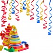 Hats and Serpentine for birthday party — Stock Photo