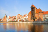 Zuraw and old embankment, Gdansk — Stock Photo