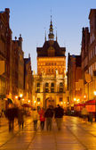 Golden gate at night, Gdansk, Poland — Stock Photo