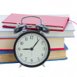 Alarm clock with books — Stock Photo