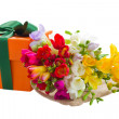 Freesiflowers and gift box — Stock Photo #26060399
