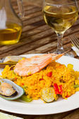 Dining with paella — Stock Photo
