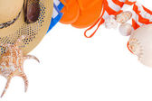 Orange sandals and seashells frame — Stock Photo