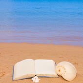 Open book on a sea shore — Stock Photo