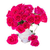 Malva rosas en florero — Foto de Stock