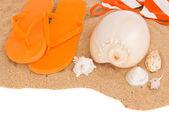 Orange sandaler och snäckskal på sand — Stockfoto