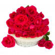 Pink roses in basket — Foto Stock