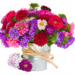 Bouquet of aster flowers in pot — Stock Photo