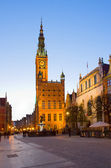 Town hall of Gdansk at night — Stock Photo