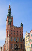 Facade of town hall of Gdansk — Stock Photo