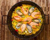 Seafood Paella -traditional spanish dish — Stock Photo