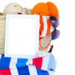 Sunbathing accessories  with tablet — Stock Photo