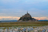 Mont St Michel at sunset , France — Stock Photo