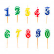 Birthday multicolored candles — Stock Photo