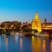 Cityscape of Seville at night, Spain — Stock Photo
