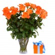 Bouquet of orange roses in vase with gift box — Stock Photo #28941031