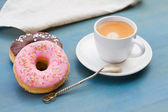 Breakfast with donuts — Stock Photo