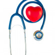 Blue stethoscope with red heart — Stock Photo