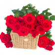 Bouquet of scarlet roses with basket — Stock Photo
