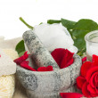 Spa settings with roses on white — Stock Photo