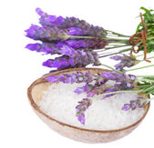 Lavender and spa salt — Stock Photo