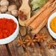 Colorful spices of curry and red pepper — Stock Photo #30335389