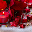 Christmas  red  candle with decorations — Stock Photo